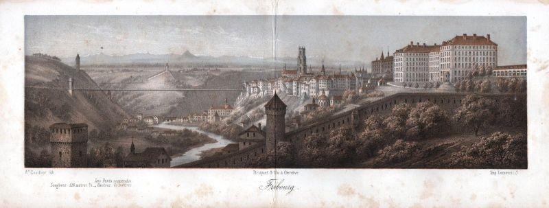 1840 Freiburg im Üechtland Panorama Ansicht vue Farblithographie Cuvillier Litho