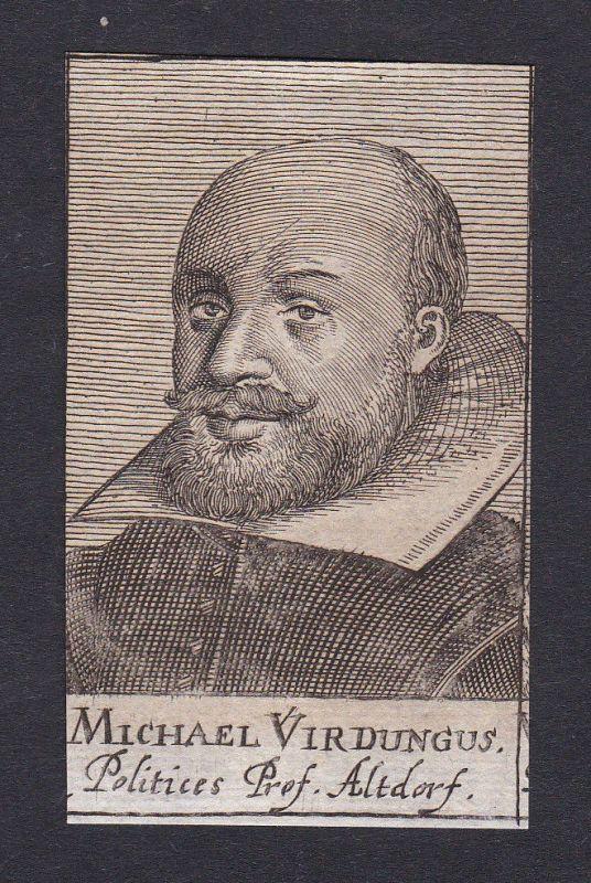 17. Jh. - Michael Virdung / professor poet Altdorf Portrait Kupferstich