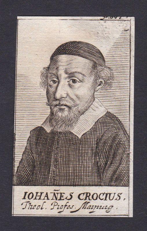 17. Jh. Johannes Crocius / theologian Theologe Marburg Portrait Kupferstich