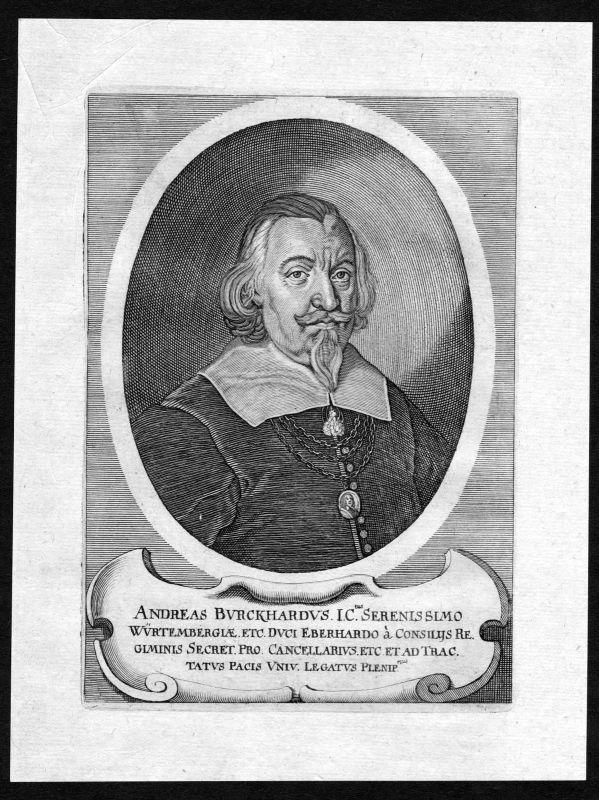 17. Jh. Andreas Burckhard Politiker Portrait Kupferstich antique print