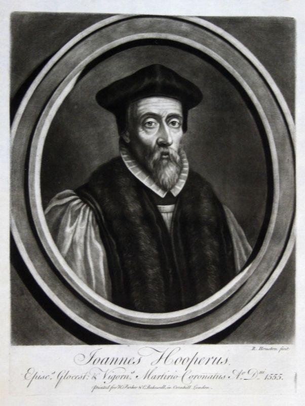 1759 Houston John Hooper Portrait Aquatinta mezzotint Reformator Theologe