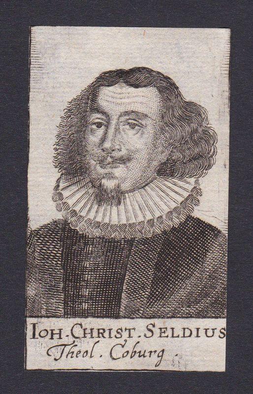 17. Jh. Johann Christoph Seld / theologian Theologe Coburg Portrait Kupferstich