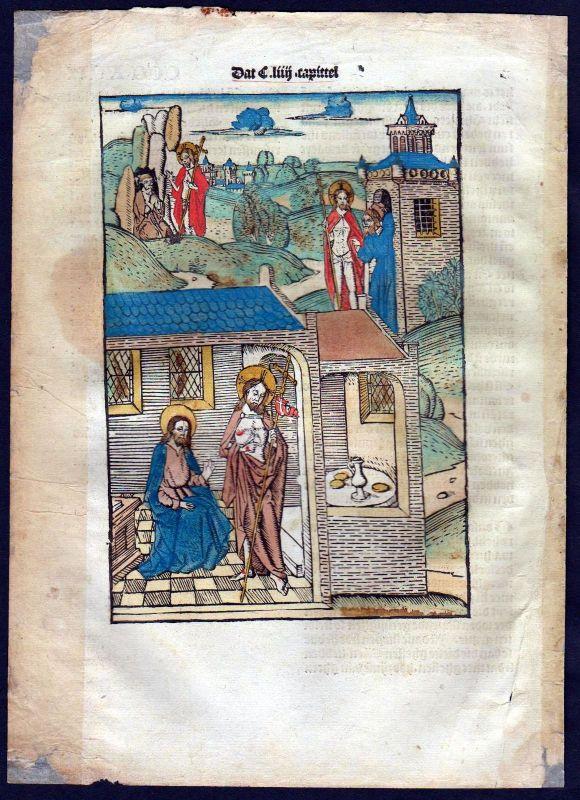 1499 Blatt CCCXVII Inkunabel Vita Christi Zwolle Holzschnitt woodcut incunable