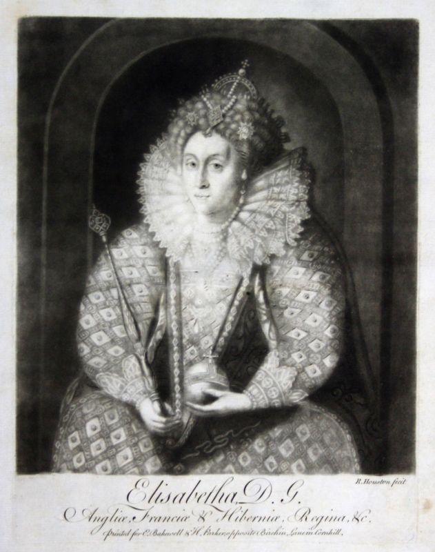 1759 Houston Elisabeth I. Portrait Aquatinta mezzotint Königin The Virgin Queen