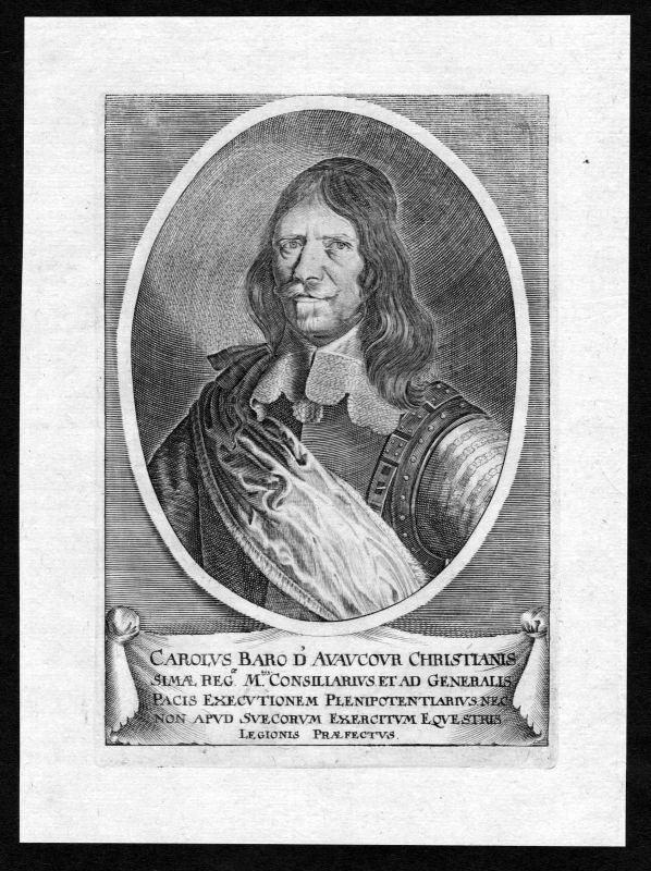 17. Jh. Charles d'Avaugour gravure Diplomat Portrait Kupferstich antique print