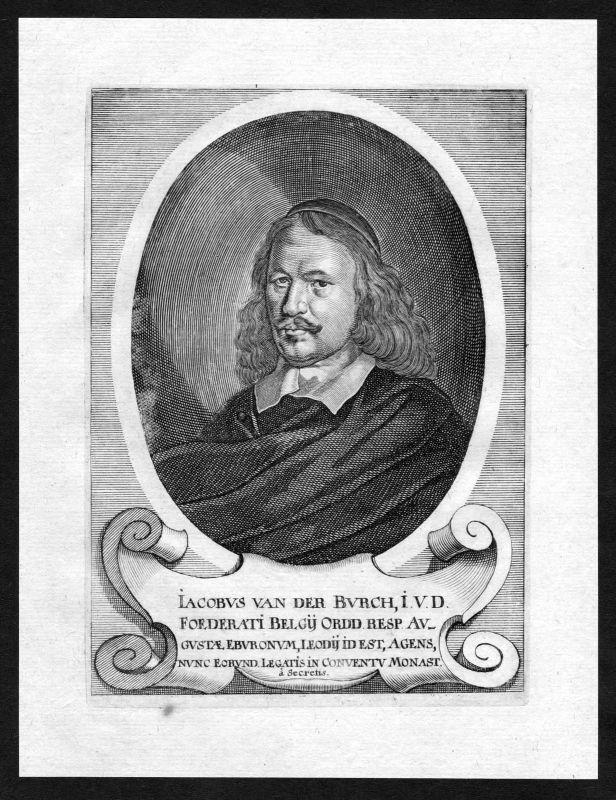 17. Jh. Jacob van der Burgh Oranje Portrait Kupferstich antique print