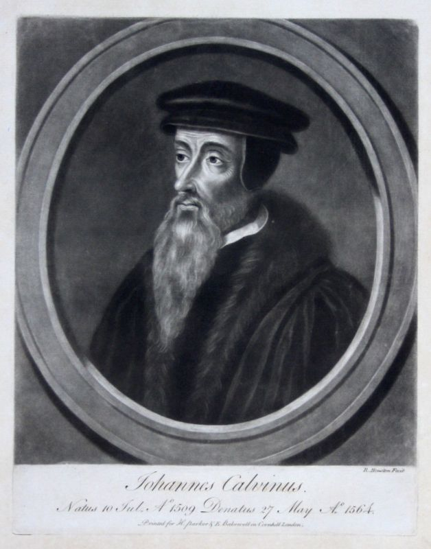 1759 Richard Houston Jean Cauvin Portrait Aquatinta mezzotint Reformator
