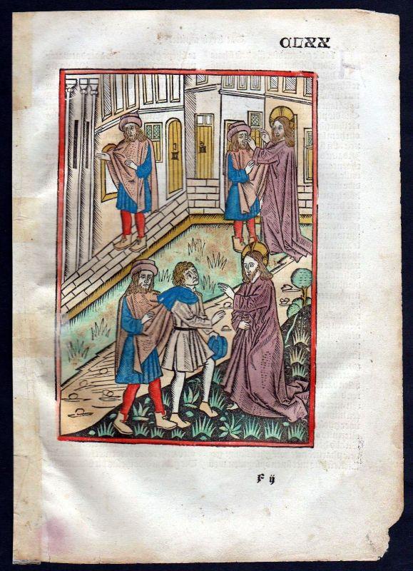 1499 Blatt CLXX Inkunabel Vita Christi Zwolle Holzschnitt woodcut incunable