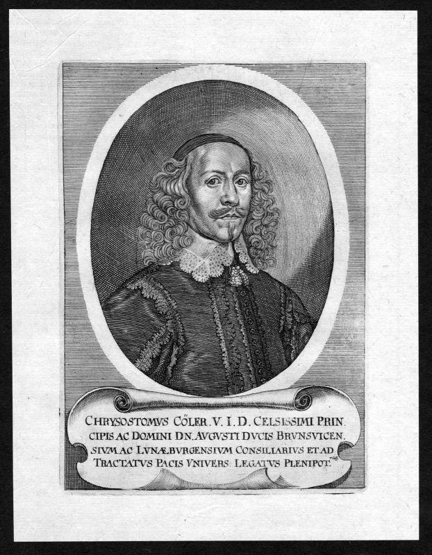 17. Jh. Chrysostomus Cöler Hildesheim Jurist Portrait Kupferstich antique print 0