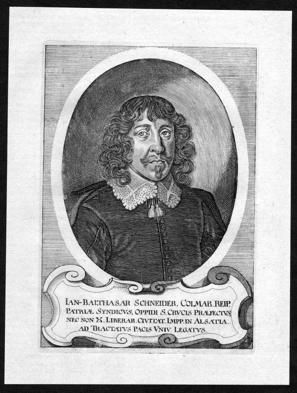 17. Jh. Jan Balthasar Schneider Portrait Kupferstich antique print 0