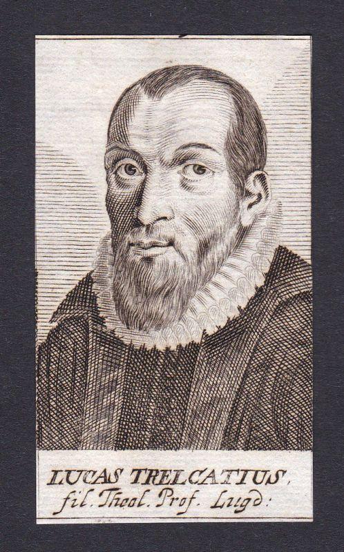 1680 Lucas Trelcatius theologian Theologe Professor Leiden Portrait Kupferstich