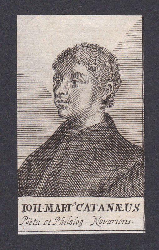 17. Jh. Johannes Marius Catanaeus poet philologist Dichter Portrait Kupferstich