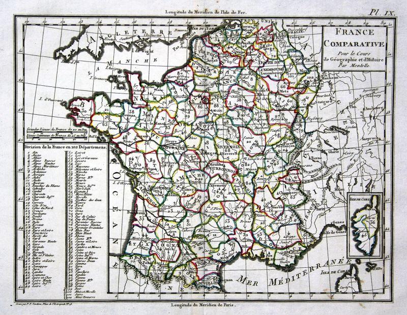 1800 France Frankreich Europa Europe Paris Lyon Karte map Mentelle