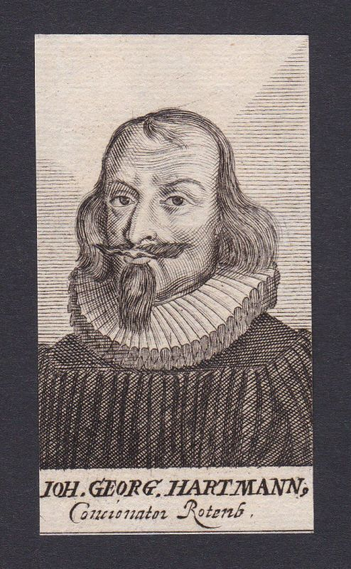 17 Jh Johann Georg Hartmann theologian Theologe Rothenburg Portrait Kupferstich