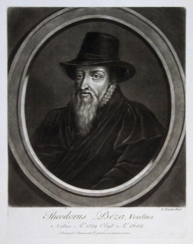 1759 Richard Houston Théodore de Bèze Portrait Aquatinta mezzotint Reformator