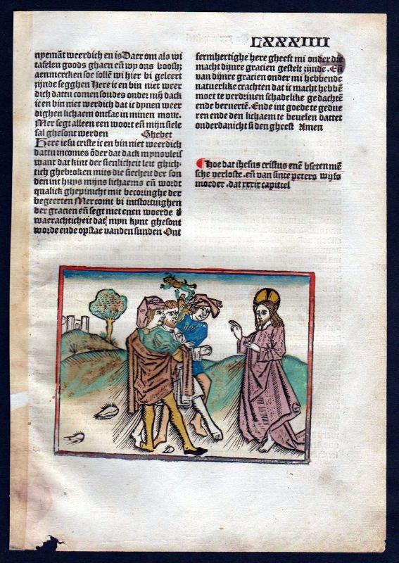 1499 Blatt LXXXIIII Inkunabel Vita Christi Zwolle Holzschnitt woodcut incunable