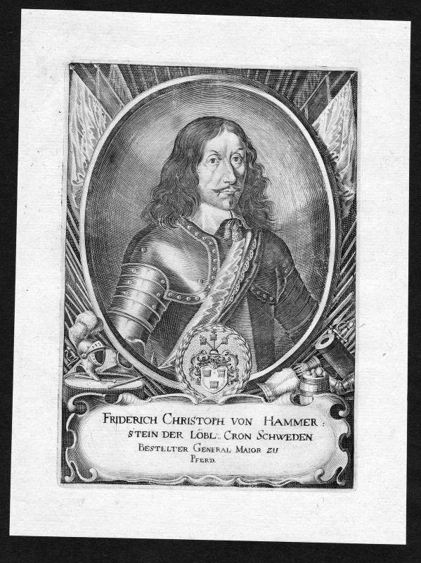 17. Jh. Friedrich Christoph von Hammerstein Portrait Kupferstich antique print