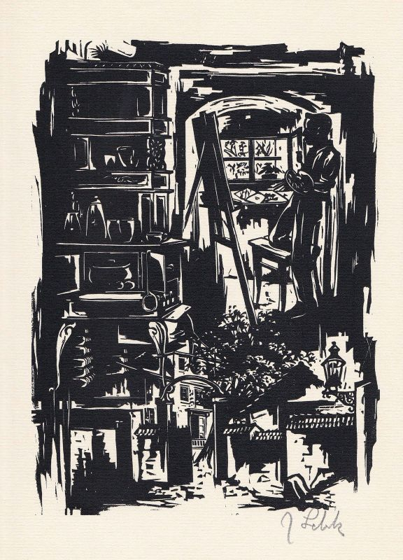 1981 Johannes Lebek Original-Holzschnitt zu seinen Erinnerungen signiert