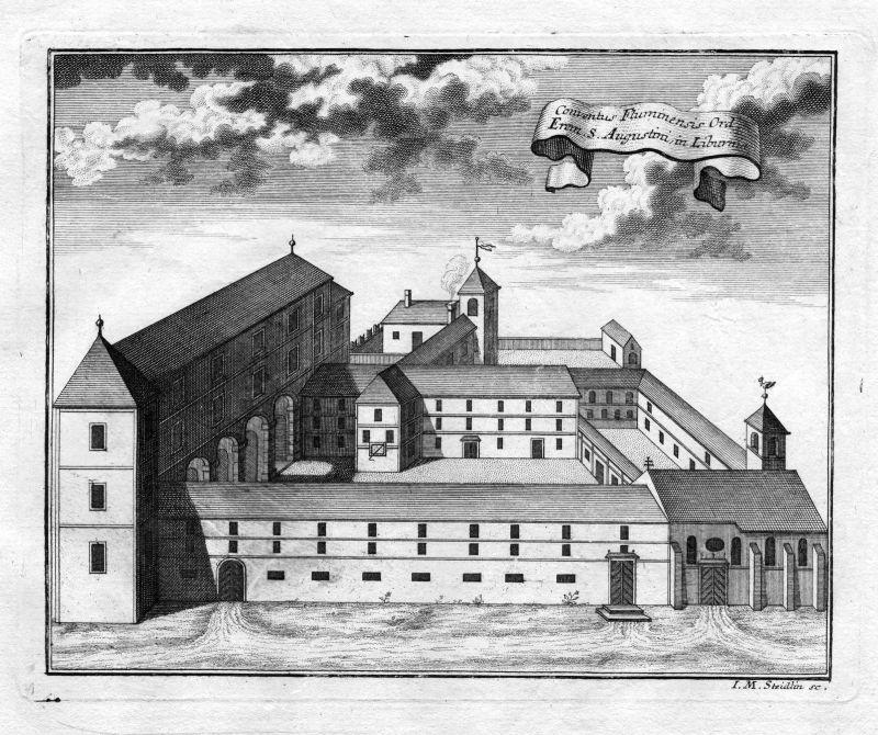 1731 Rijeka Croatia Kroatien Trsat Augustiner Kloster Kupferstich antique print