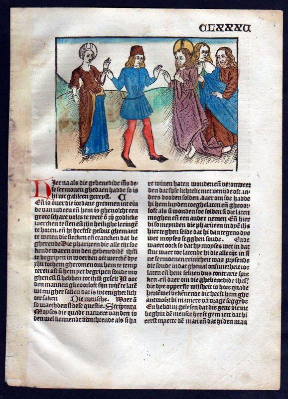1499 Blatt CLXXXV Inkunabel Vita Christi Zwolle Holzschnitt woodcut incunable