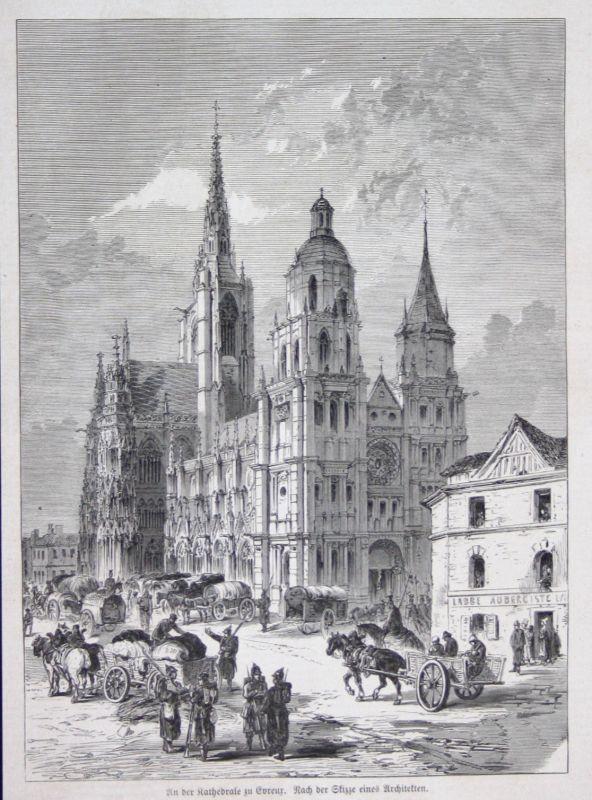 1871 Kathedrale cathedral Evreur Évreux France Holzstich woodcut gravure