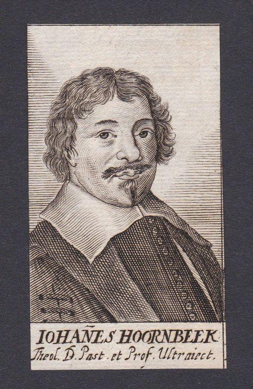 17. Jh. Johannes Hoornbeek / theologian Theologe Leiden Portrait Kupferstich