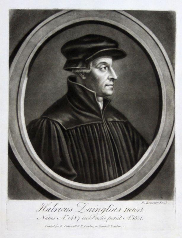 1759 Richard Houston Huldrych Zwingli Portrait Aquatinta mezzotint Theologe