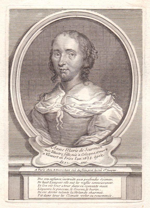 17. Jh. Anna Maria van Schurman Dutch painter Portrait Kupferstich antique print