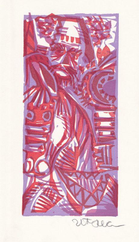 1977 Herbert Plahl Geoffrey Chaucer Linolschnitt zu