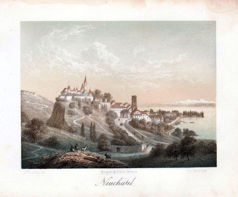 1840 Neuenburg Neuchatel Panorama Ansicht vue Farblithographie Litho Cuvillier