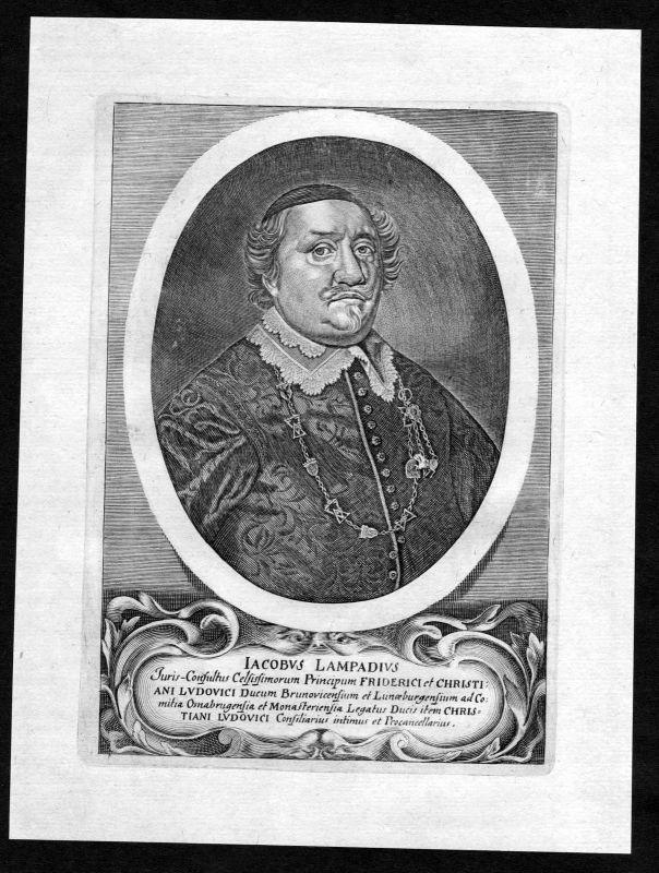 17. Jh. Jakob Lampadius Osnabrück Jurist Portrait Kupferstich antique print