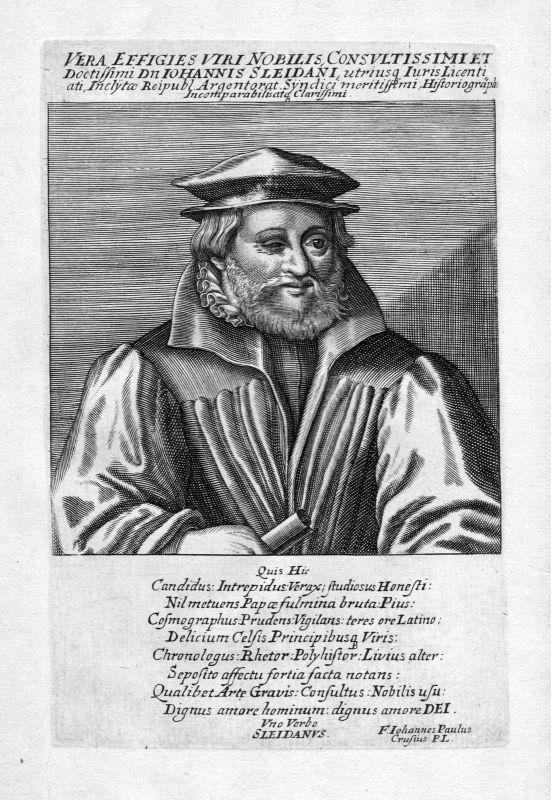 Ca. 1650 Johannes Sleidanus Schleiden Jurist Portrait Kupferstich antique print