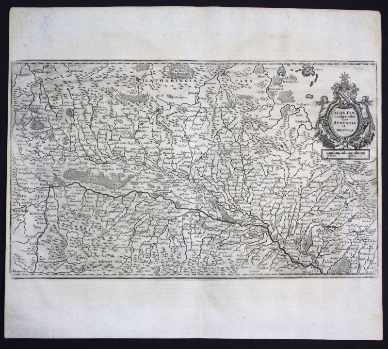 1700 Elsass Sundgau Breisgau Alsace Kupferstich antique print Karte map Merian