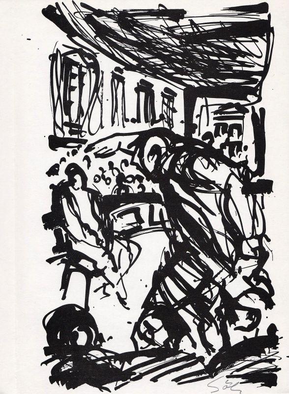 1990 Werner Gölz Albert Camus Rotaprintzeichnung zu
