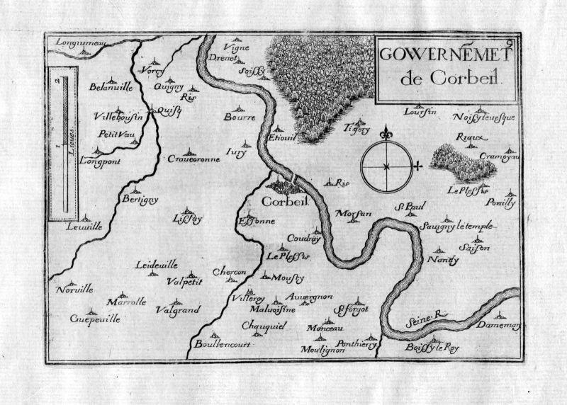 Ca. 1630 Corbeil-Essonnes Ile-de-France Frankreich France gravure carte Tassin