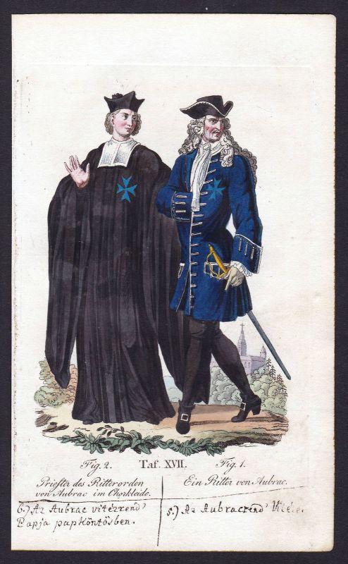 Ca. 1820 Ritterorden Orden von Aubrac ordre order Kupferstich antique print