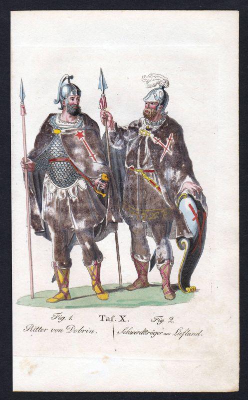 Ca. 1820 Brüder von Dobrin Order of Dobrzyn Ritterorden Orden Kupferstich Polska