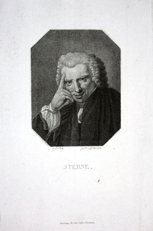 Ca. 1815 Laurence Sterne Schriftsteller writer Portrait Kupferstich engraving