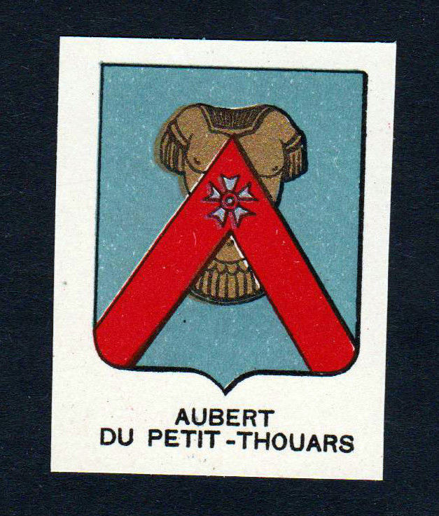 Ca. 1880 Aubert Petit Thouars Wappen Adel coat of arms heraldry Lithographie