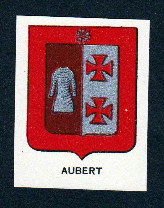 Ca. 1880 Aubert Wappen Adel coat of arms heraldry Lithographie antique pr 145756