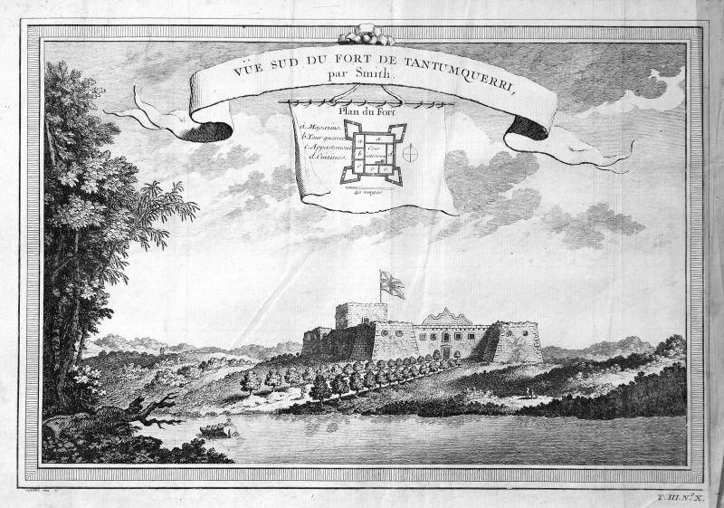 Ca. 1750 Fort Tantumquerri Africa Afrika Ansicht view Kupferstich antique print