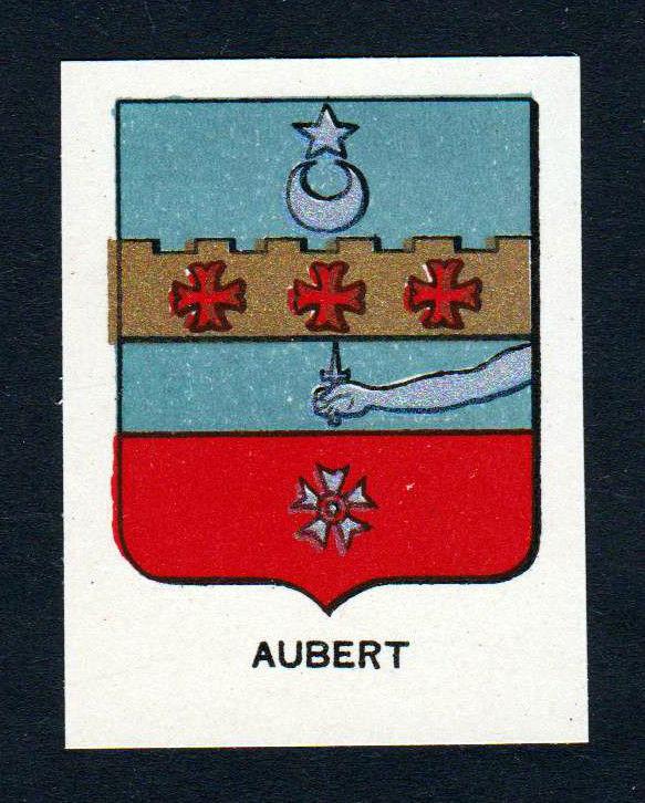 Ca. 1880 Aubert Wappen Adel coat of arms heraldry Lithographie antique print