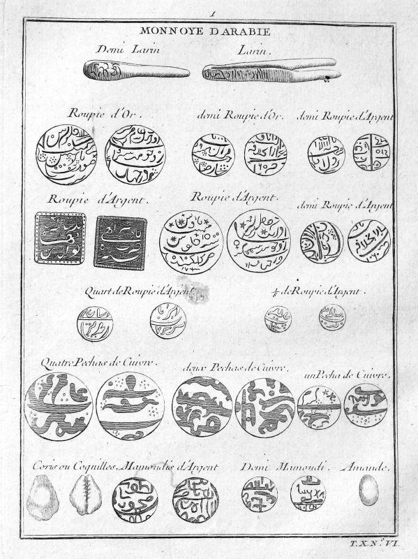 Ca. 1750 Saudi Arabia Arabien Münzen coins Geld money Kupferstich antique print