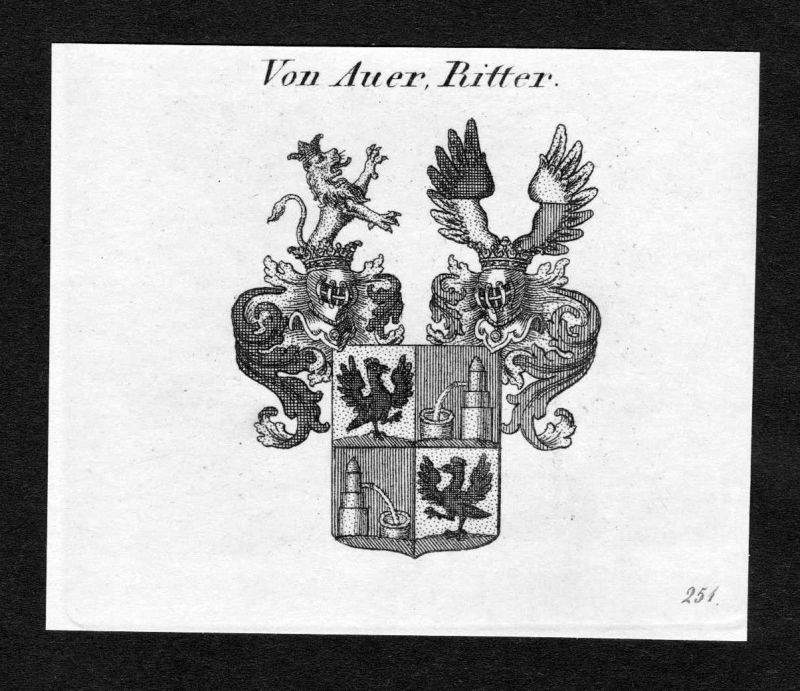 Ca. 1820 Auer Wappen Adel coat of arms Kupferstich antique print heraldry 138562