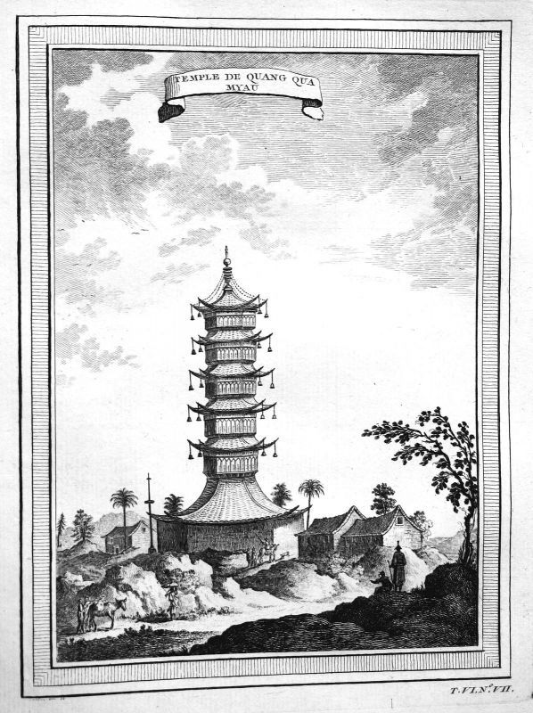 Ca 1750 Shandong Tempel temple China Asia Ansicht view Kupferstich antique print