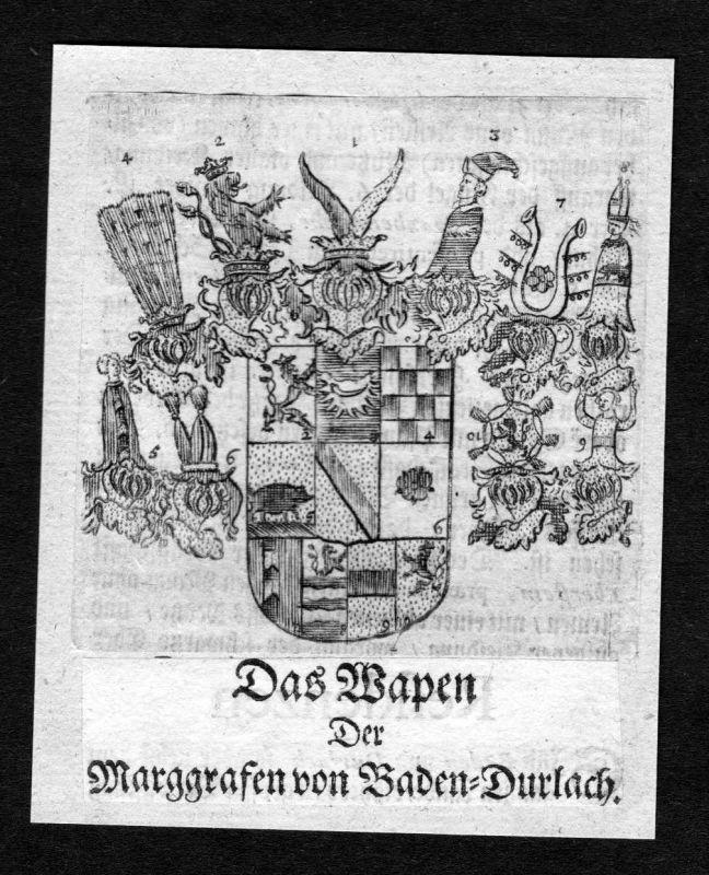 1750 - Baden-Durlach Wappen Adel coat of arms heraldry Heraldik Kupferstich