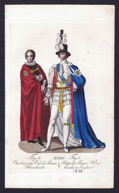Ca. 1820 Order of the Garter Ritterorden Orden Kupferstich antique print