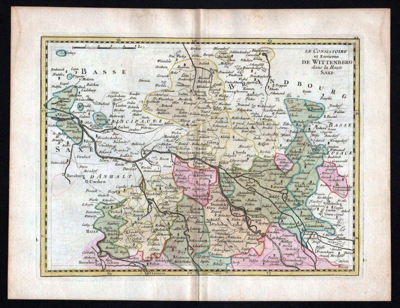 1759 Halle Saale Bernburg Köthen Karte map Kupferstich antique print Le Rouge