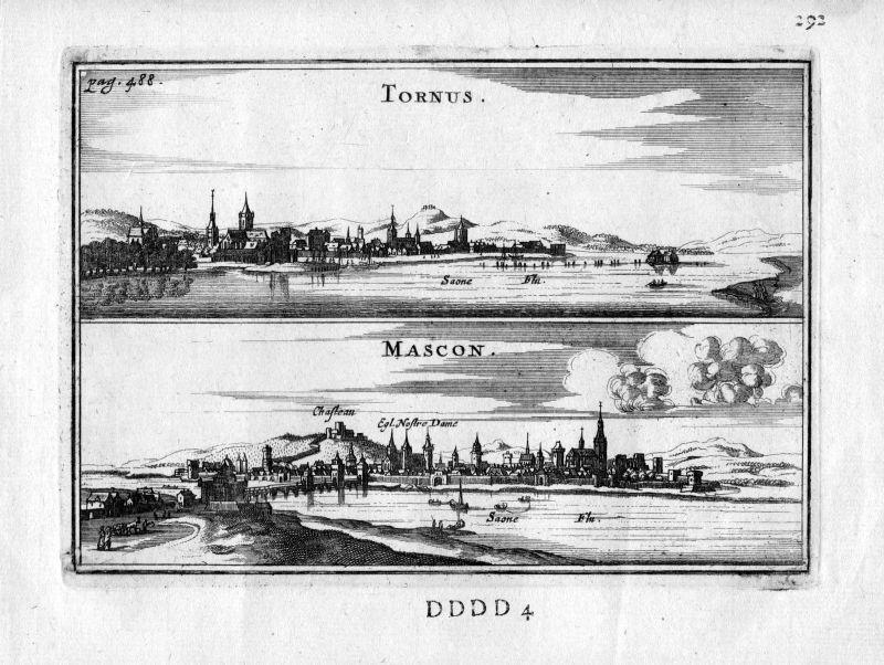 1666 Tournus Macon Saone et Loire Frankreich France gravure estampe Kupferstich