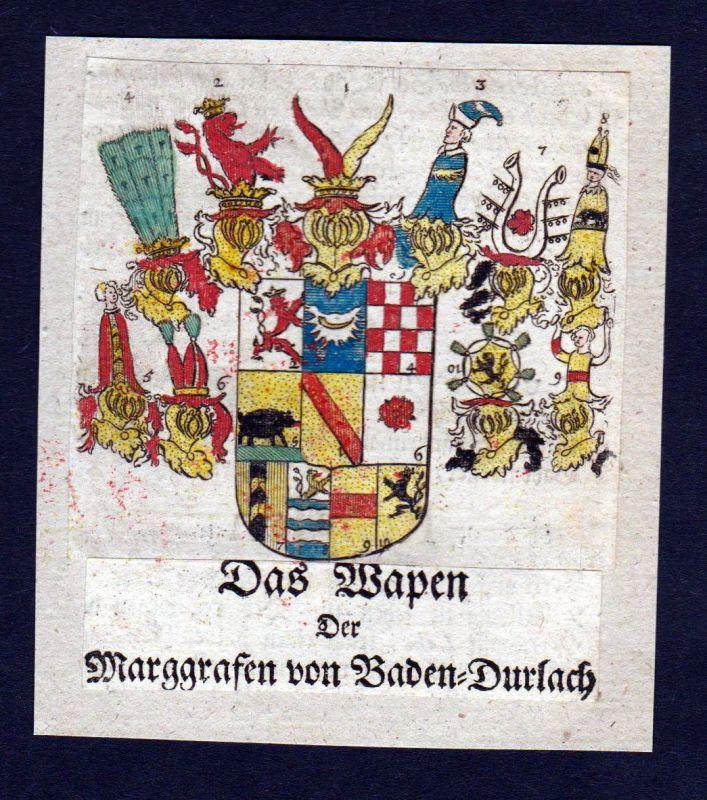 1750 - Baden-Durlach Wappen Adel coat of arms heraldry Heraldik Kupfersti 126384